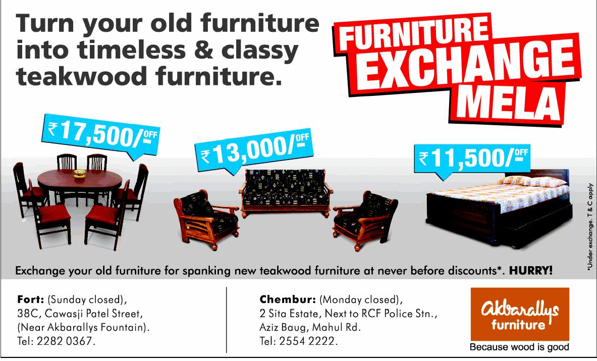 Akbarallys furniture exchange mela starts on 25th oct 2012 for Furniture exchange