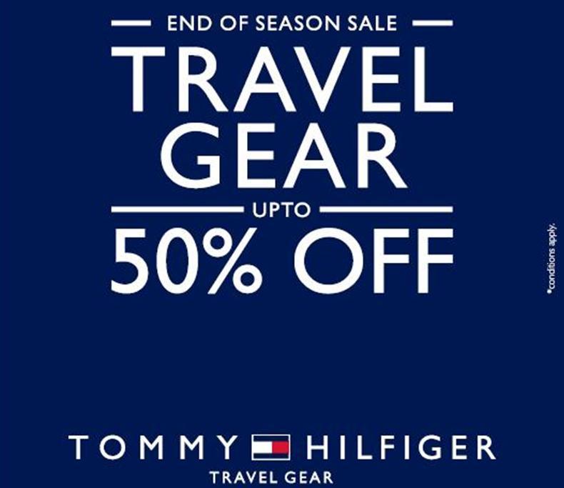 tommy hilfiger end of season sale travel gear upto 50. Black Bedroom Furniture Sets. Home Design Ideas